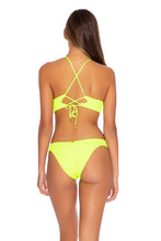 PURA CURIOSIDAD - Cross Back Bustier Top & Banded Moderate Bottom • Neon Yellow