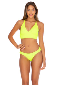PURA CURIOSIDAD - Cross Back Bustier Top & Banded Moderate Bottom • Neon Yellow (3929504350310)