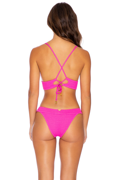 PURA CURIOSIDAD - Cross Back Bustier Top & Banded Moderate Bottom • Pretty Pink