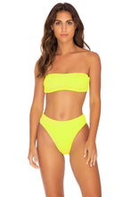 PURA CURIOSIDAD - Free Form Bandeau & High Leg Banded Waist Bottom • Neon Yellow