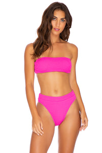 PURA CURIOSIDAD - Free Form Bandeau & High Leg Banded Waist Bottom • Pretty Pink