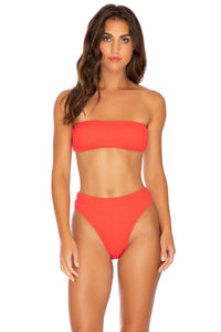 PURA CURIOSIDAD - Free Form Bandeau & High Leg Banded Waist Bottom • Chili Pepper