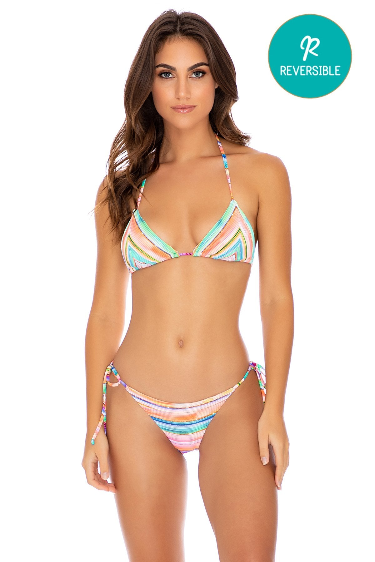 HEAT WAVES - Triangle Top & Wavey Ruched Back Tie Side Bottom • Multicolor