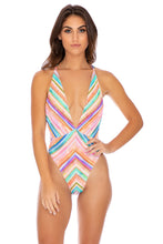 HEAT WAVES - Deep V Crossed Back One Piece • Multicolor