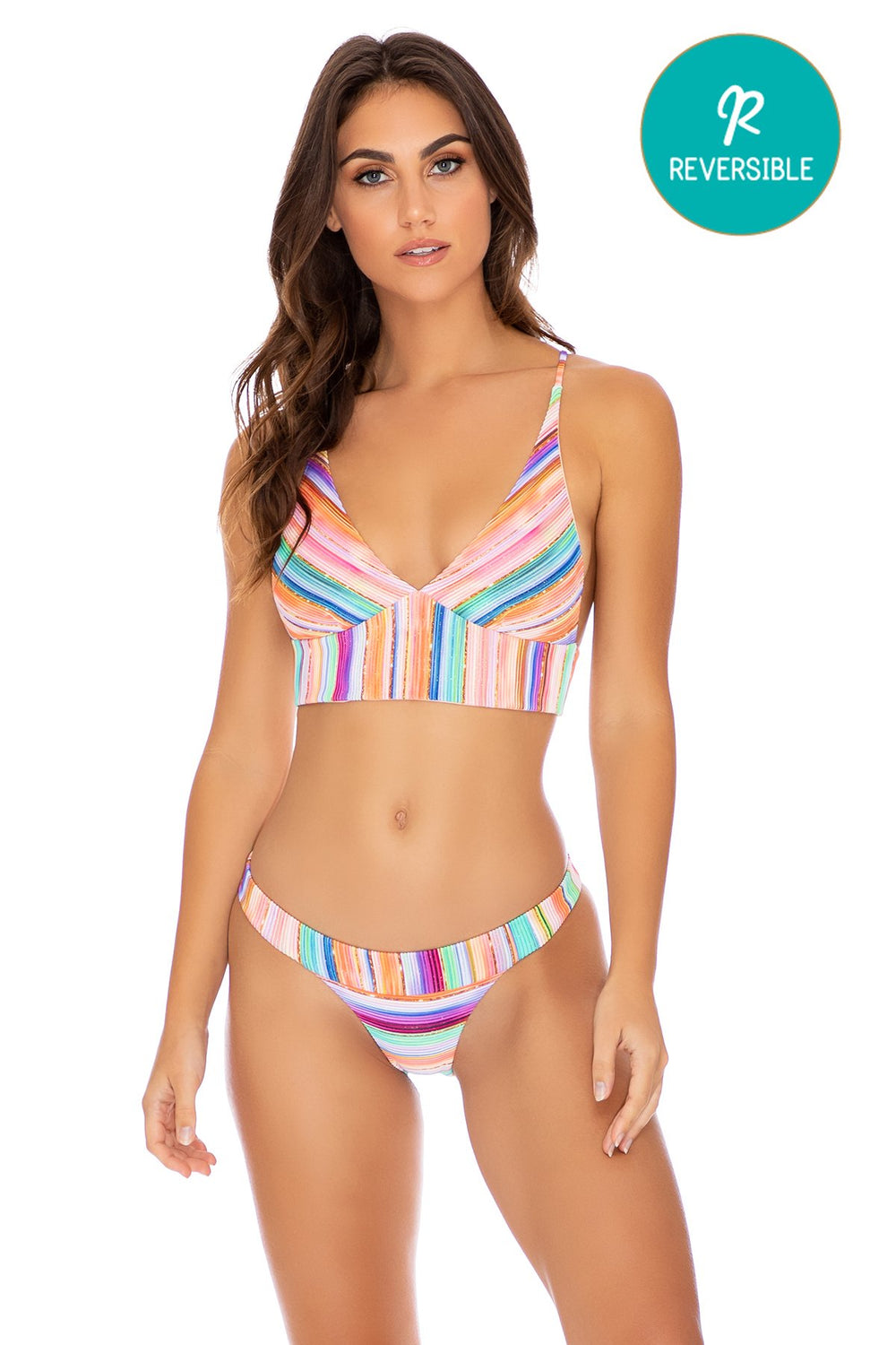 HEAT WAVES - Cross Back Bustier Top & Banded Moderate Bottom • Multicolor
