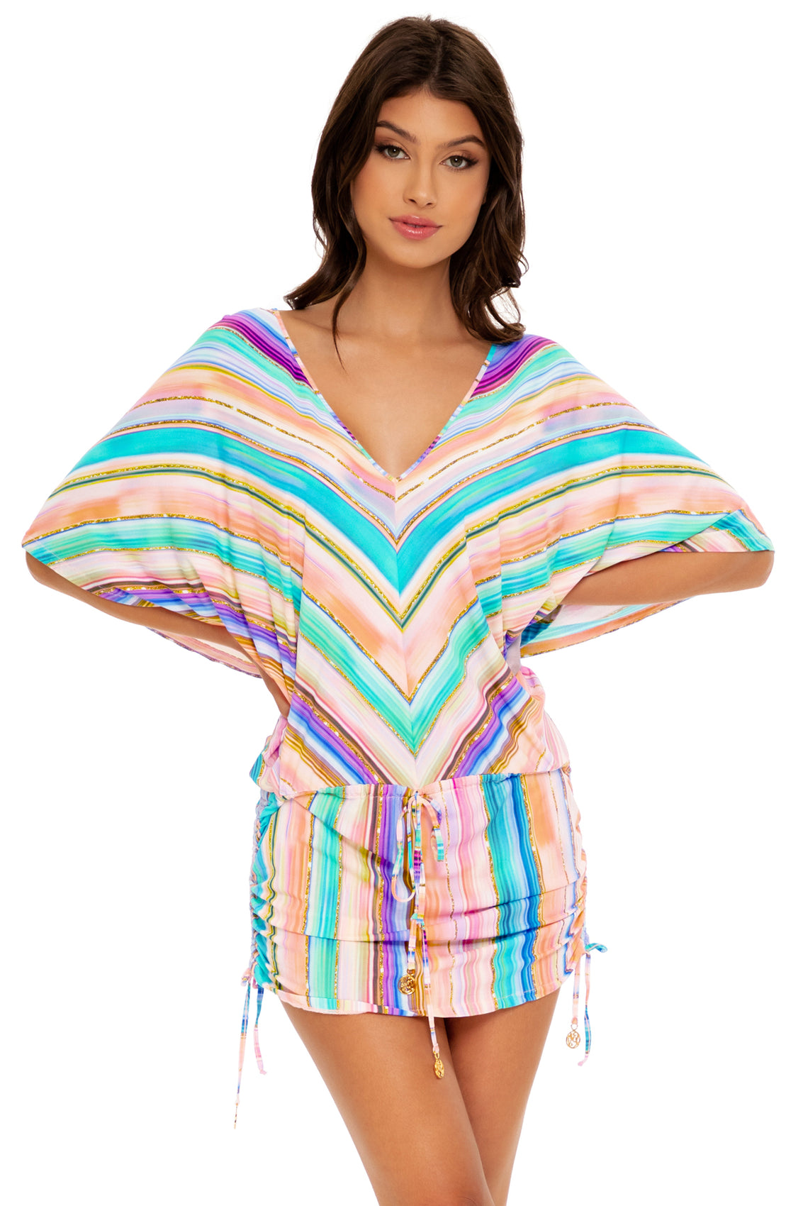 HEAT WAVES - Cabana V Neck Dress • Multicolor