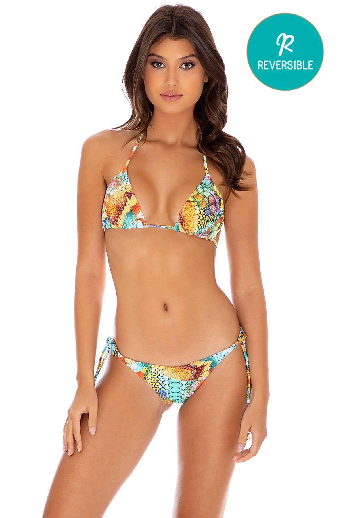 JUST WING IT - Triangle Top & Wavey Ruched Back Tie Side Bottom • Multicolor