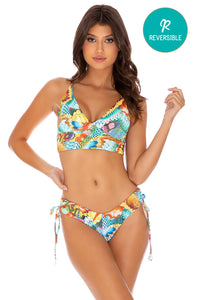 JUST WING IT - Cross Back Bustier Top & Drawstring Side  Bottom • Multicolor