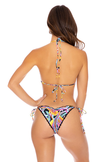 MOON NIGHTS - Triangle Top & Wavey Ruched Back Tie Side Bottom • Multicolor