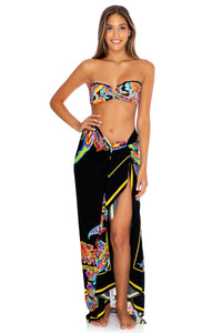 MOON NIGHTS - Gold V Ring Bandeau Top & Pareo • Multicolor (3951920447590)