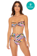 MOON NIGHTS - Gold V Ring Bandeau Top & High Waist Bottom • Multicolor