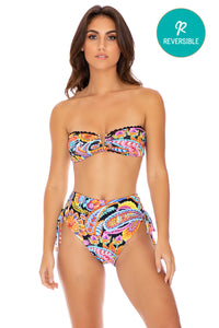 MOON NIGHTS - Gold V Ring Bandeau Top & High Waist Bottom • Multicolor (3951920513126)