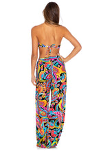 MOON NIGHTS - Gold V Ring Bandeau Top & Split Side Wide Leg Pant • Multicolor
