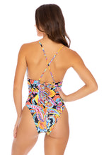 MOON NIGHTS - Laced Up Back High Leg One Piece • Multicolor
