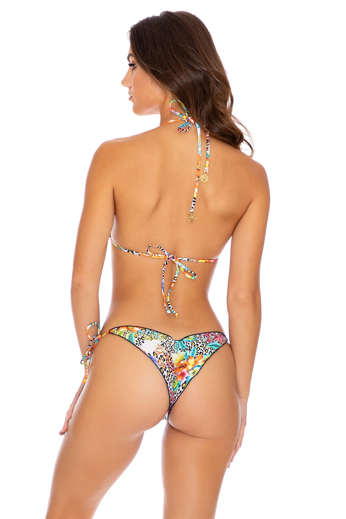 LULI'S JUNGLE - Triangle Top & Wavey Ruched Back Tie Side Bottom • Multicolor Turks