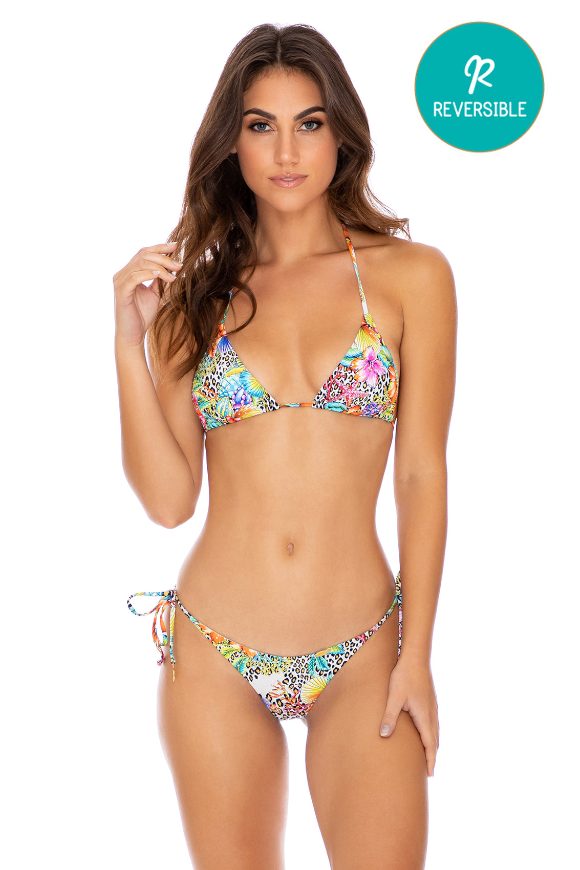 LULI'S JUNGLE - Triangle Top & Wavey Ruched Back Tie Side Bottom • Multicolor (3957459288166)
