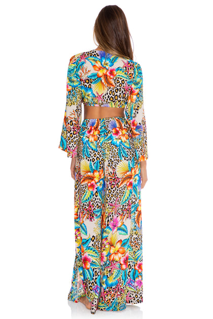 LULI'S JUNGLE - Front Knot Crop Top & Open Sides Wide Leg Pant • Multicolor