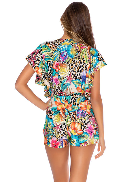 LULI'S JUNGLE - Front Knot Romper • Multicolor