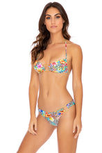 LULI'S JUNGLE - Ring Drawstring Halter Bandeau & Wavey Ruched Back  Bottom • Multicolor Runway