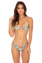 LULI'S JUNGLE - Ring Drawstring Halter Bandeau & Wavey Ruched Back  Bottom • Multicolor