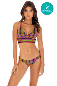 JUNGLE GLOW - Cross Back Bustier Top & Banded Moderate Bottom • Multicolor