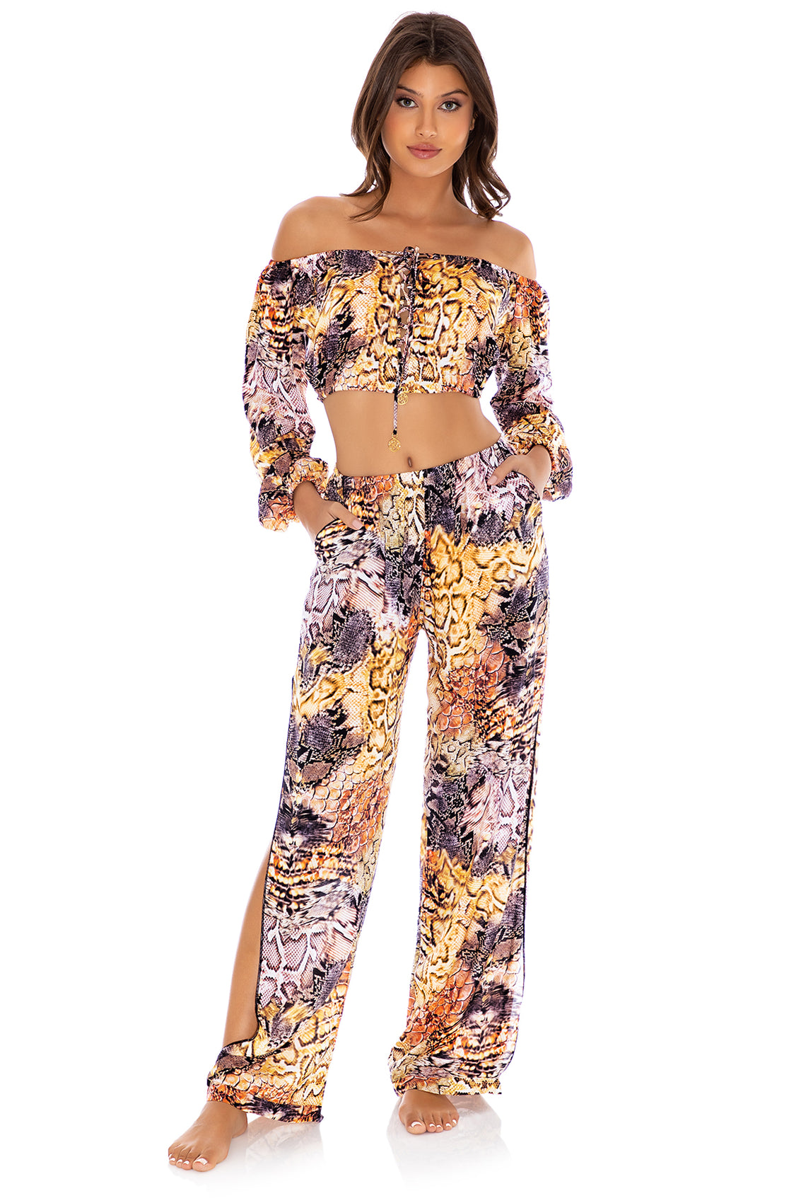 SKINS - Crop Top & Split Side Wide Leg Pant • Natural Snake