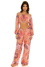 SKINS - Crop Top & Split Side Wide Leg Pant • Coral Snake