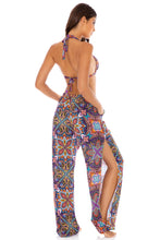 TIKI BABE - Triangle Halter Top & Split Side Wide Leg Pant • Multicolor