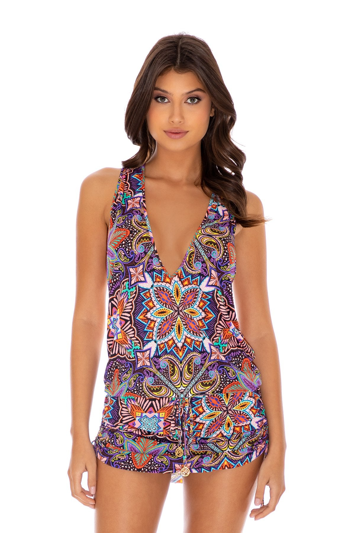 TIKI BABE - T Back Mini Dress • Multicolor