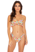 WILD FLOWER - Puckered Ruffle Bralette & Drawstring Side  Bottom • Multicolor