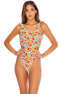 WILD FLOWER - Tank Open Sides Thong One Piece Bodysuit • Multicolor (3958774628454)