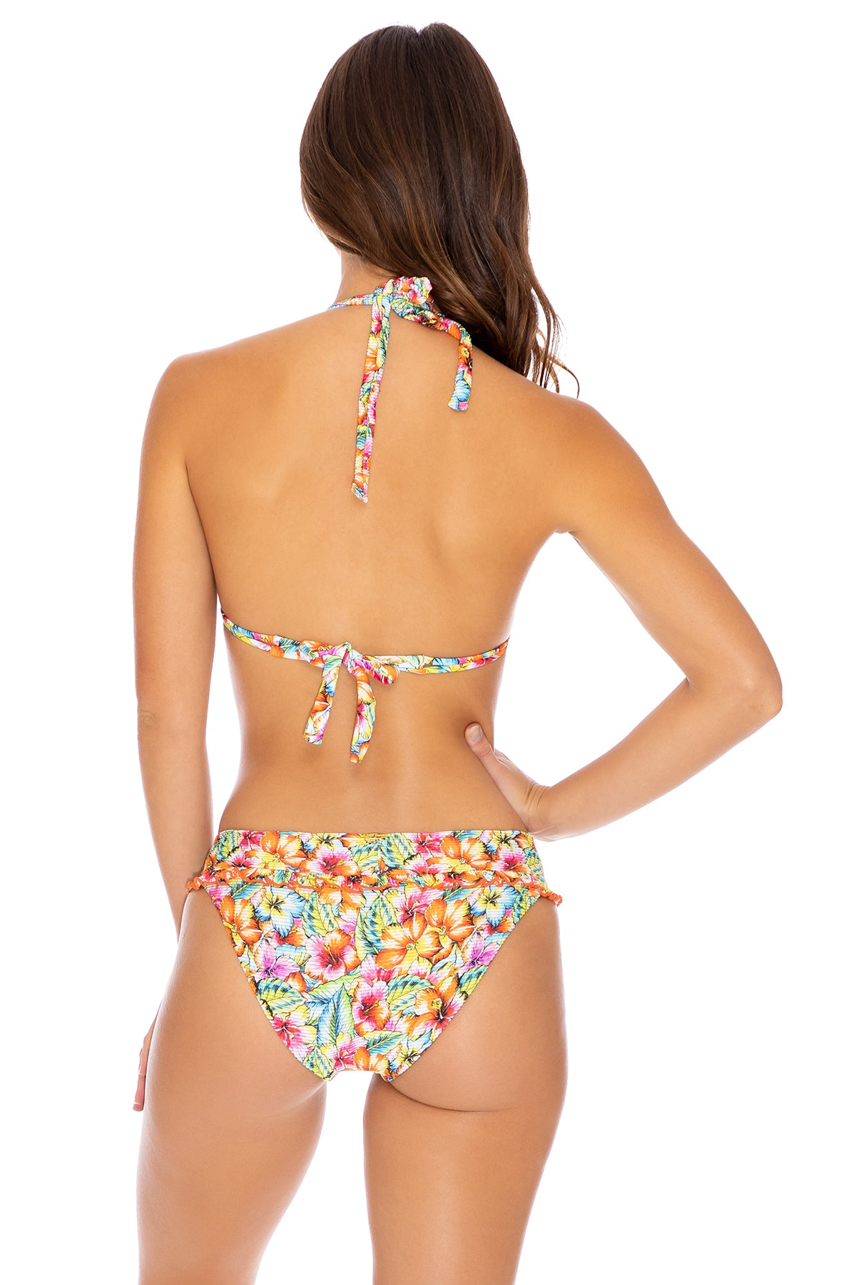 WILD FLOWER - Triangle Halter Top & Banded Full Bottom • Multicolor