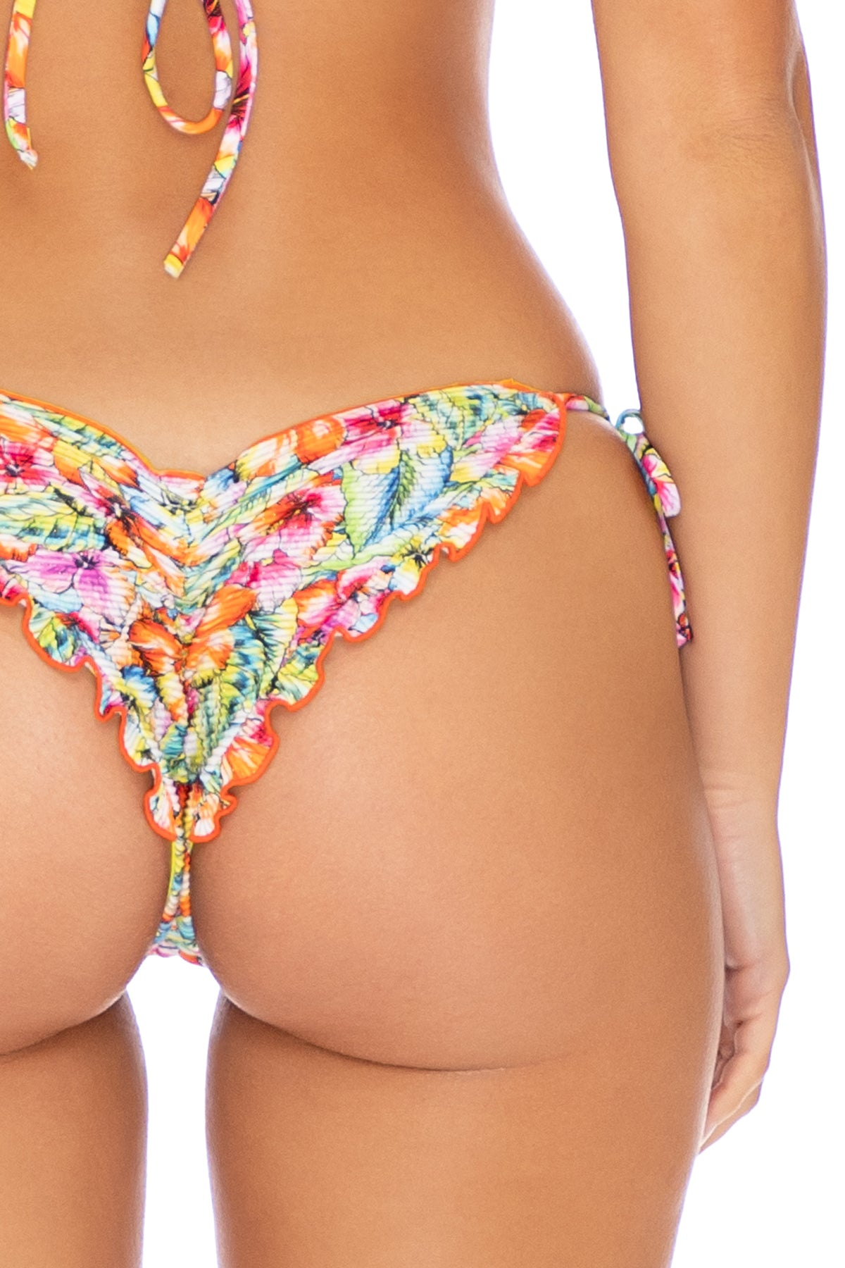 WILD FLOWER - Triangle Top & Wavey Ruched Back Tie Side Bottom • Multicolor