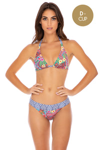 LULI TRIBE - Triangle Halter Top & Banded Full Bottom • Multicolor