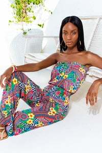LULI TRIBE - Strapless Ruffle Jumpsuit • Multicolor