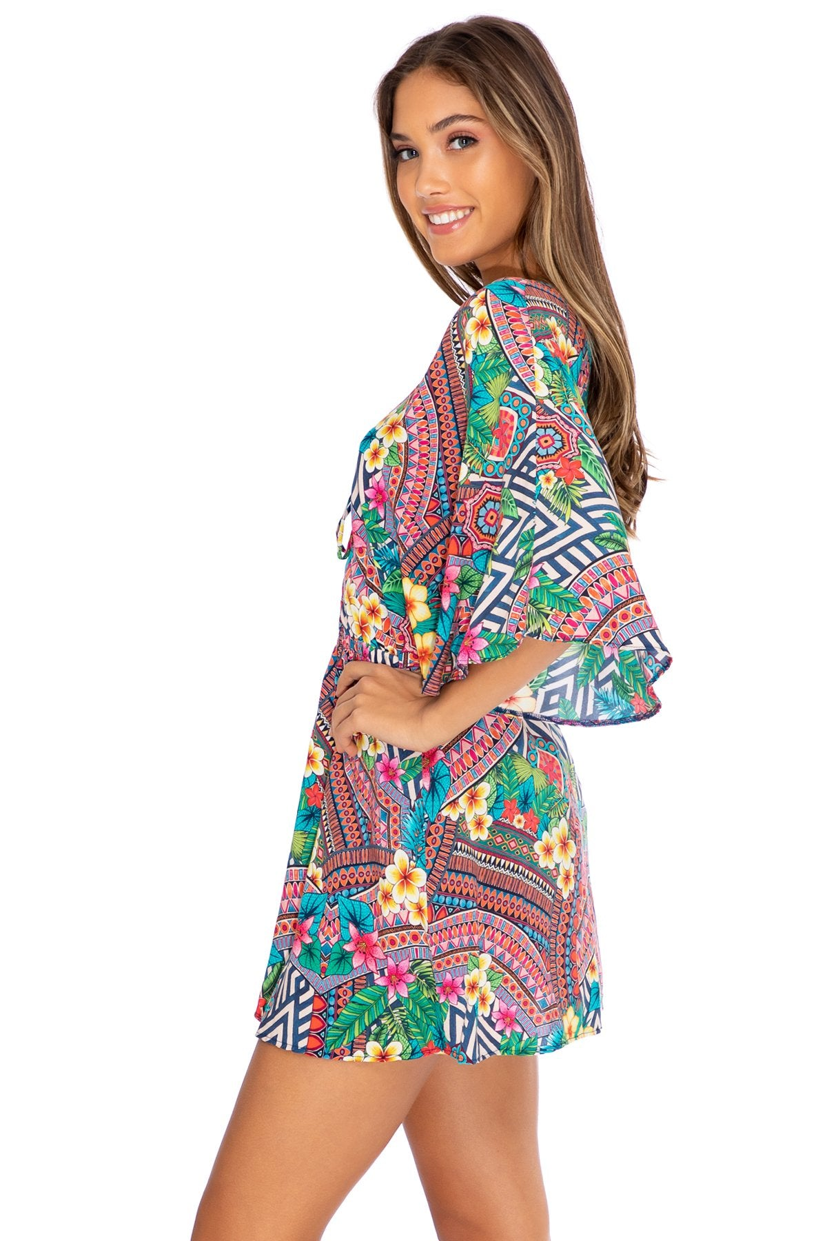 LULI TRIBE - Laced Up Short Dress • Multicolor