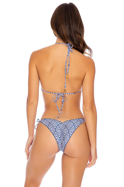 MESMERIZED - Triangle Top & Wavey Ruched Back Tie Side Bottom • Multicolor