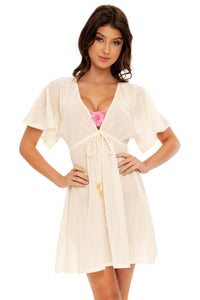 BLOOM - Deep V Basic Short Tunic • Ivory