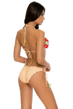 PRETTY THINGS - Flower Accent Triangle Top & Flower Detail Wavey Ruched Back Full Tie Side Bottom • Nude