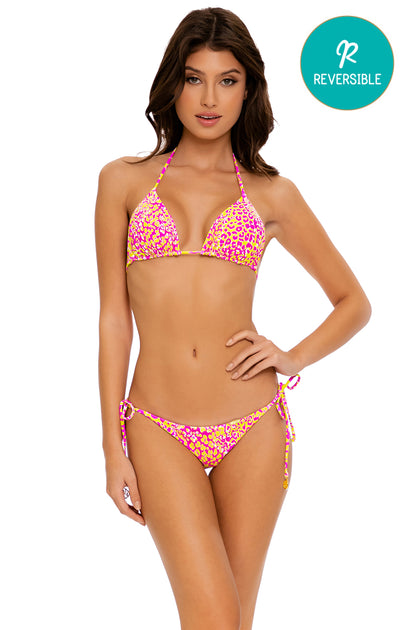 WILD SWEETHEART - Triangle Top & Wavey Ruched Back Tie Side Bottom • Multicolor