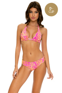 WILD SWEETHEART - Triangle Halter Top & Seamless Full Ruched Back Bottom • Multicolor