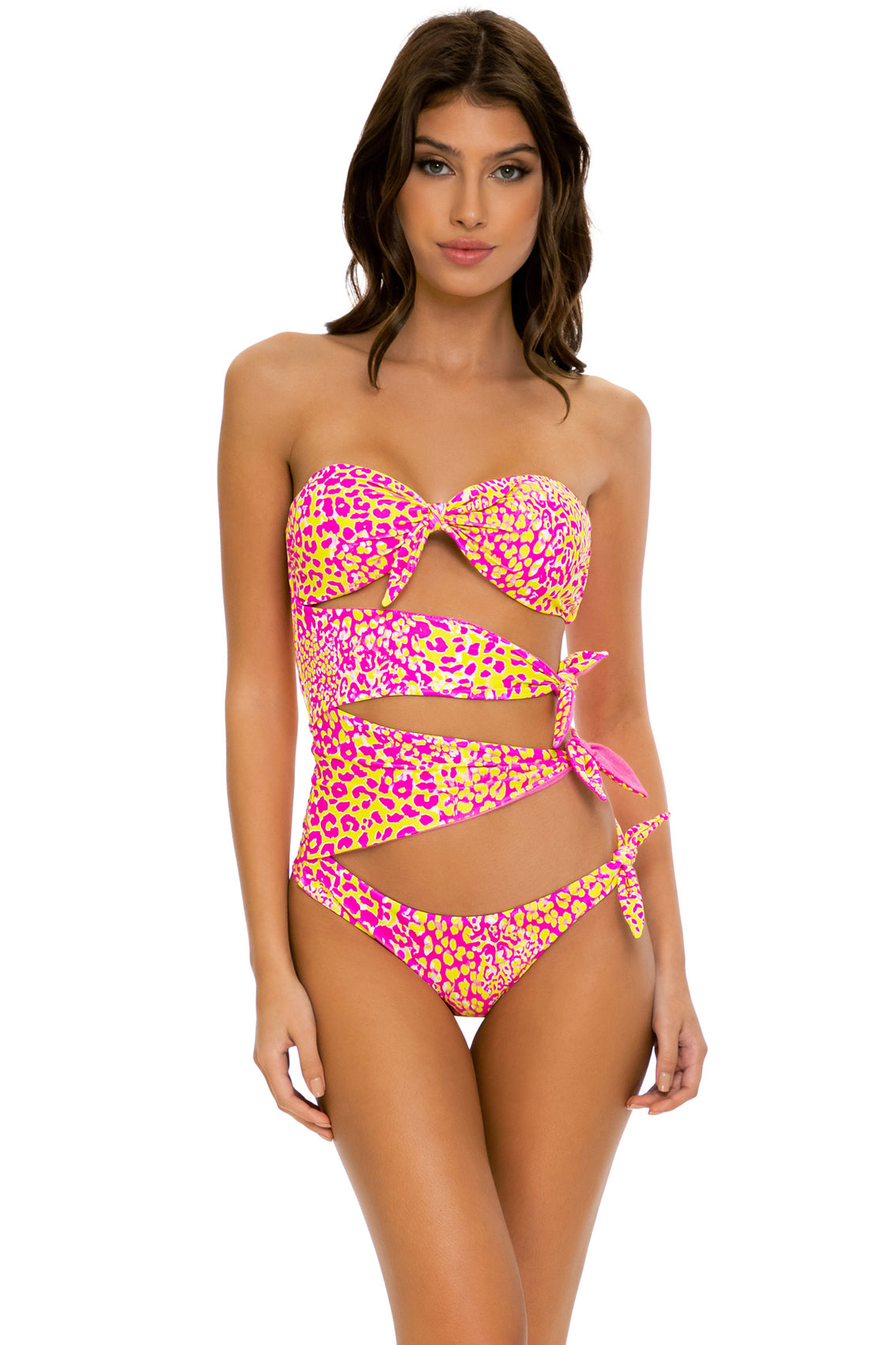 WILD SWEETHEART - Knot Bow Tie Side Bandeau One Piece • Multicolor