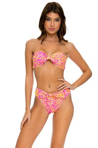 WILD SWEETHEART - Knot Bow Bandeau Top & High Leg Tie Front Bottom • Multicolor