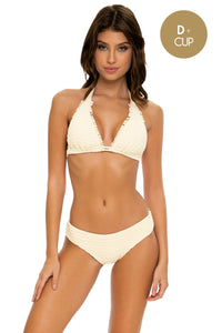DESERT STAR - Triangle Halter Top & Seamless Full Ruched Back Bottom • Ivory