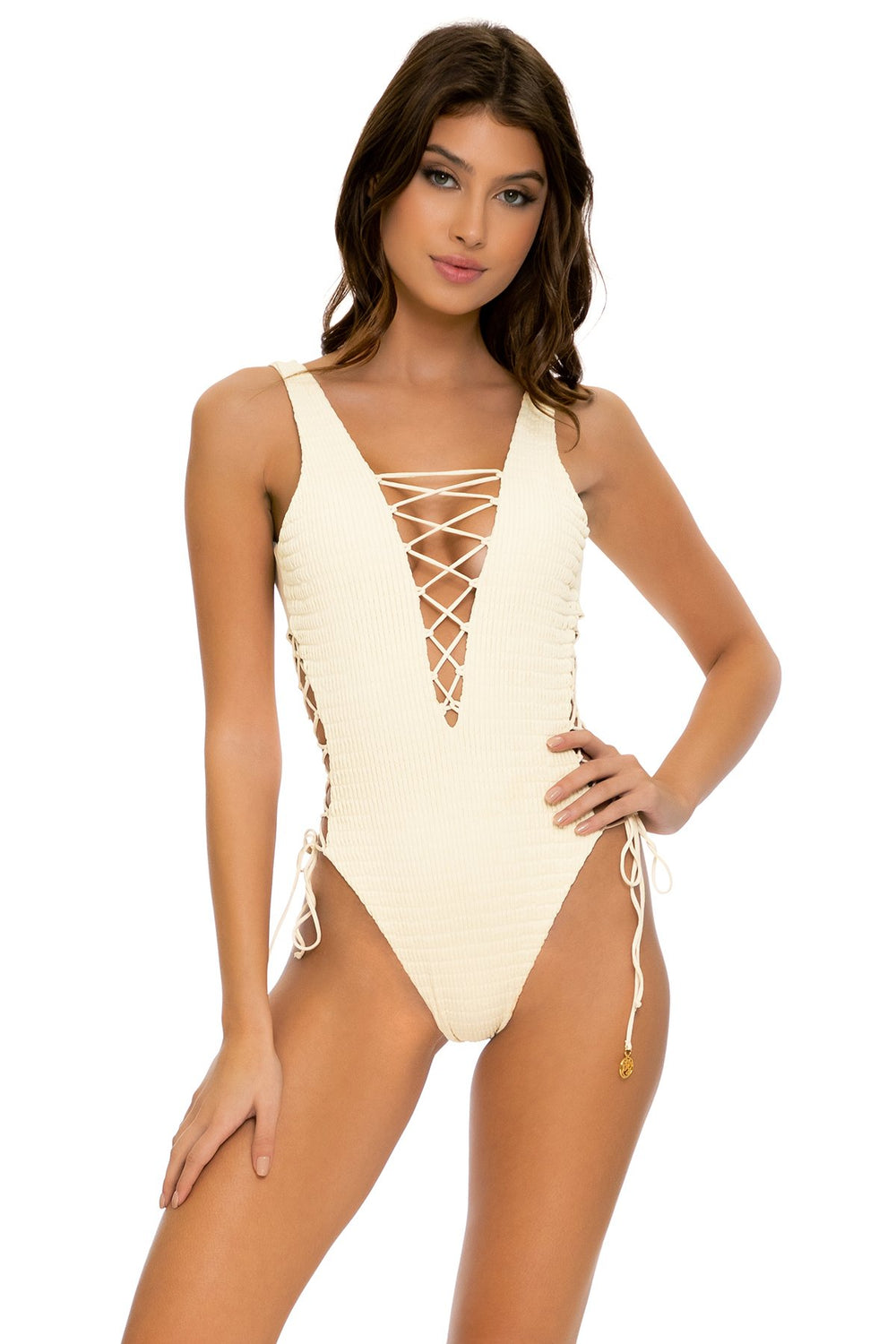 DESERT STAR - Open Side One Piece Bodysuit • Ivory