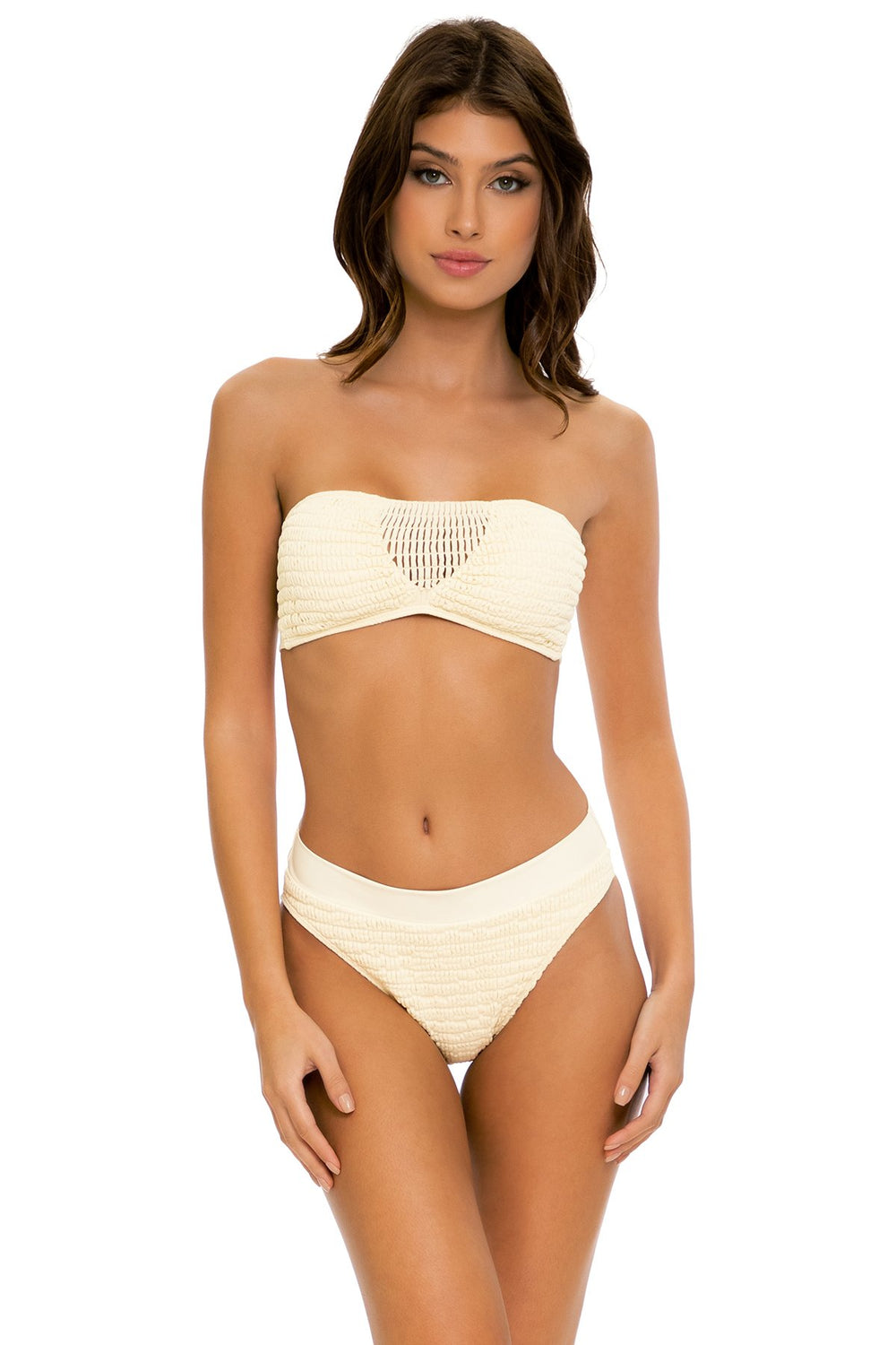 DESERT STAR - Bandeau Top & High Leg Banded Waist Bottom • Ivory
