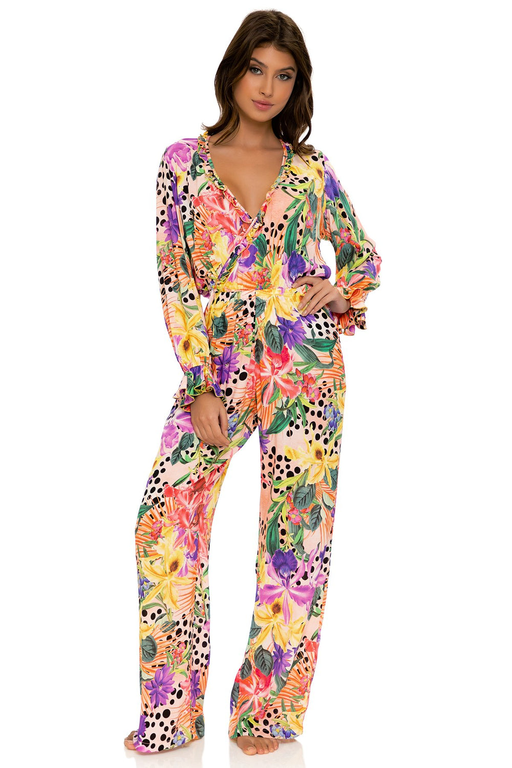 SHOCKING FLORALS - Ruffle Long Sleeve Jumpsuit • Multicolor