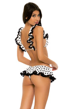 SPOTTED - Frilly Triangle Top & Ruffle Wavey Back Ruched Bottom • Black White