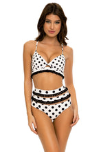 SPOTTED - Underwire Top & Mesh Divided High Leg Banded Waist Bottom • Black White