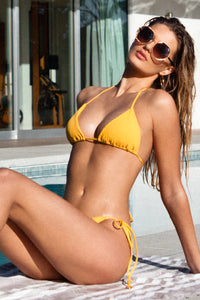 PLAYA VIBES - Triangle Top & Wavey Ruched Back Tie Side Bottom • Yellow